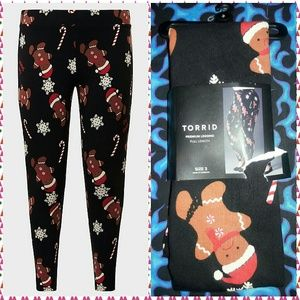 Torrid Black Oh Snap! Gingerbread Leggings Sz 3X